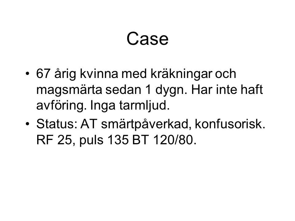 Case 67 årig kvinna med kräkningar och magsmärta sedan 1 dygn. Har inte haft avföring. Inga tarmljud.