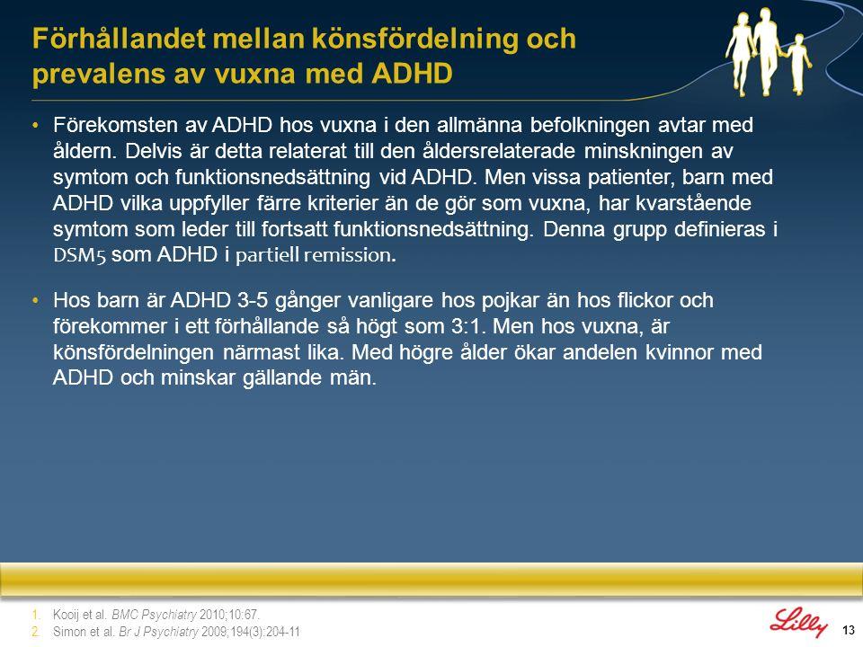 Förhållandet mellan könsfördelning och prevalens av vuxna med ADHD