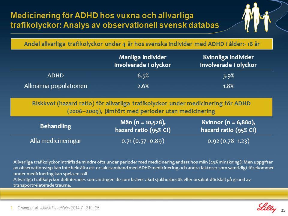 Medicinering för ADHD hos vuxna och allvarliga trafikolyckor: Analys av observationell svensk databas