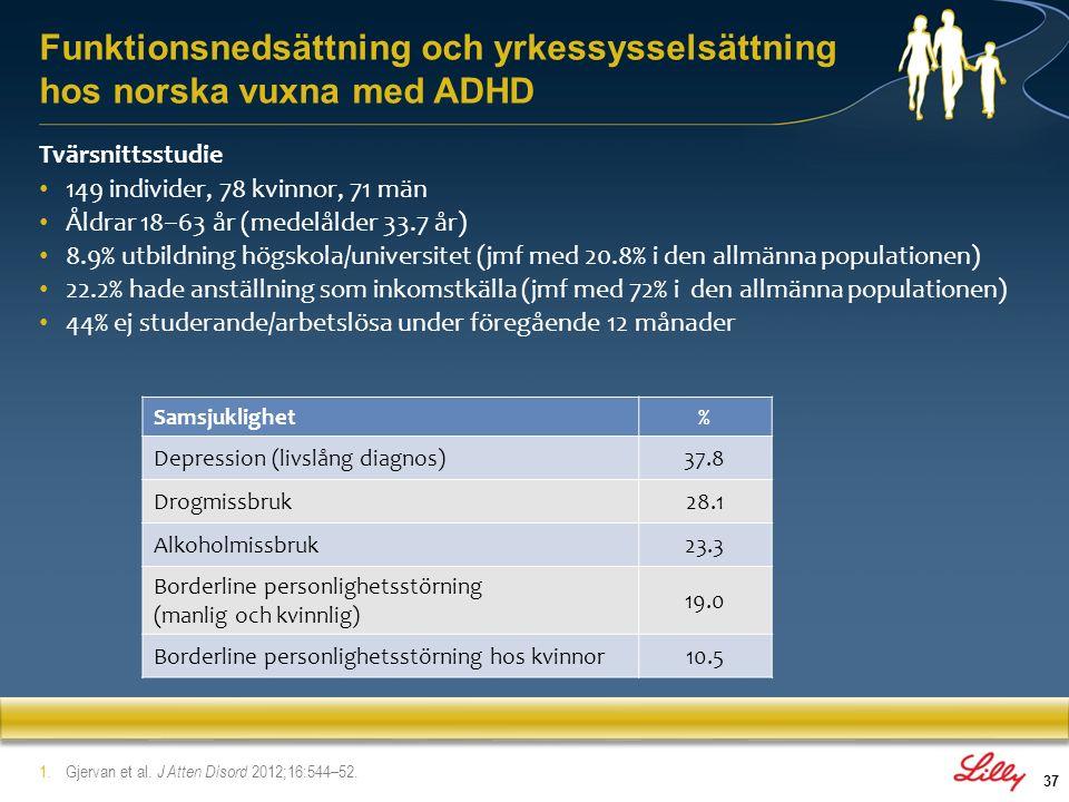 Funktionsnedsättning och yrkessysselsättning hos norska vuxna med ADHD