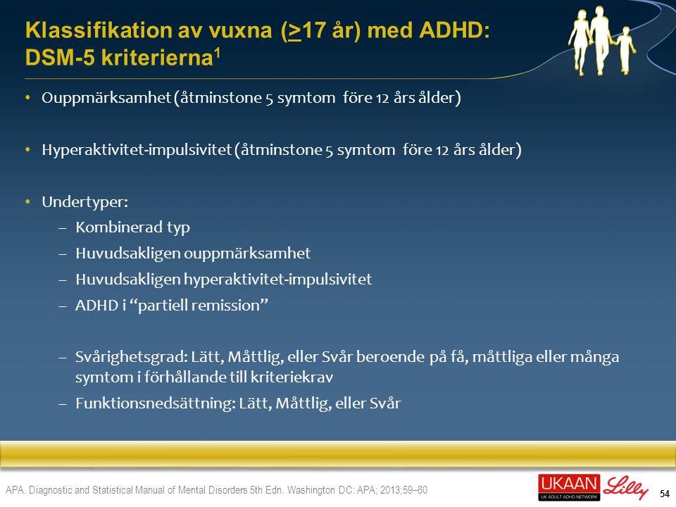 Klassifikation av vuxna (>17 år) med ADHD: DSM-5 kriterierna1