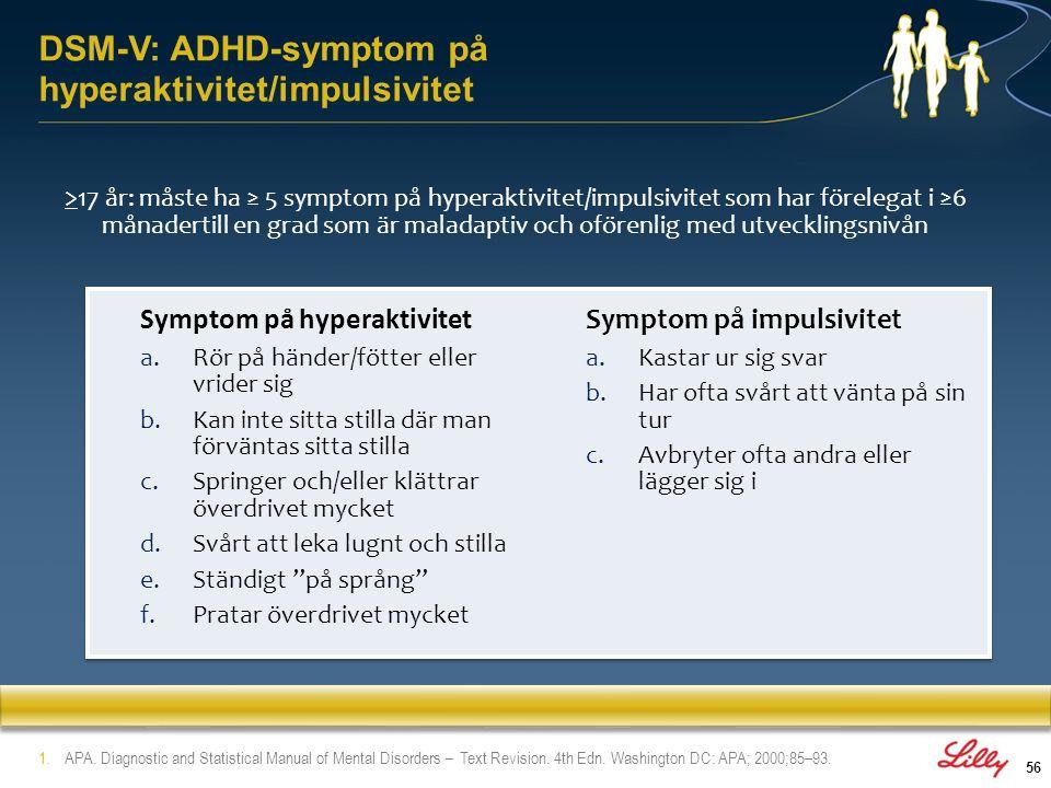 DSM-V: ADHD-symptom på hyperaktivitet/impulsivitet