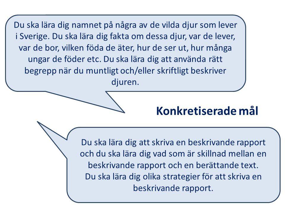 Du ska lära dig namnet på några av de vilda djur som lever i Sverige