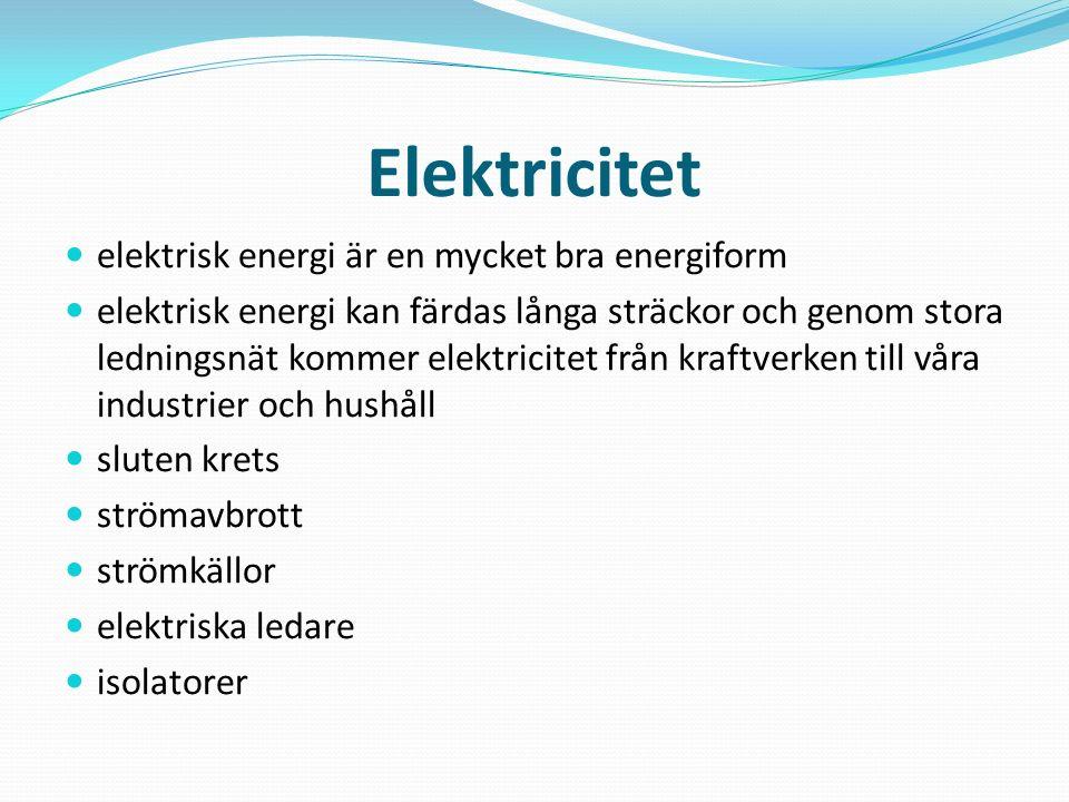 Elektricitet elektrisk energi är en mycket bra energiform