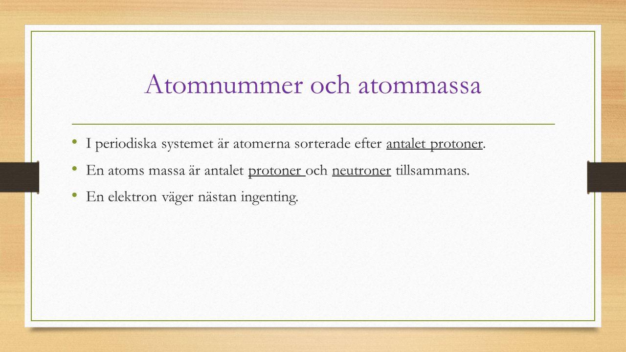 Atomnummer och atommassa