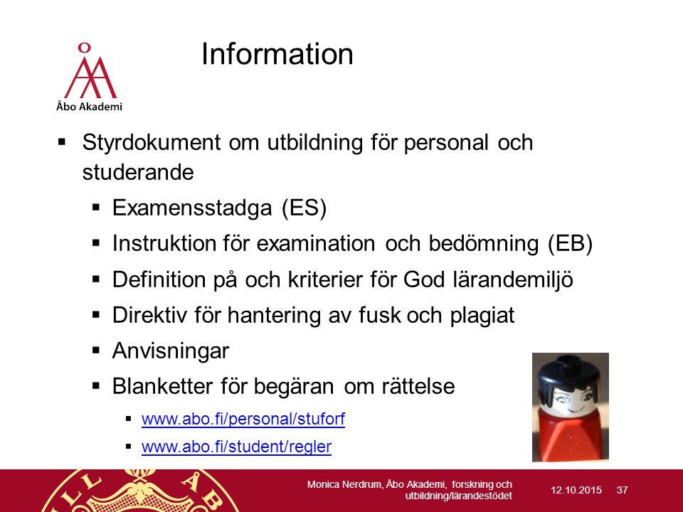Information Styrdokument om utbildning för personal och studerande