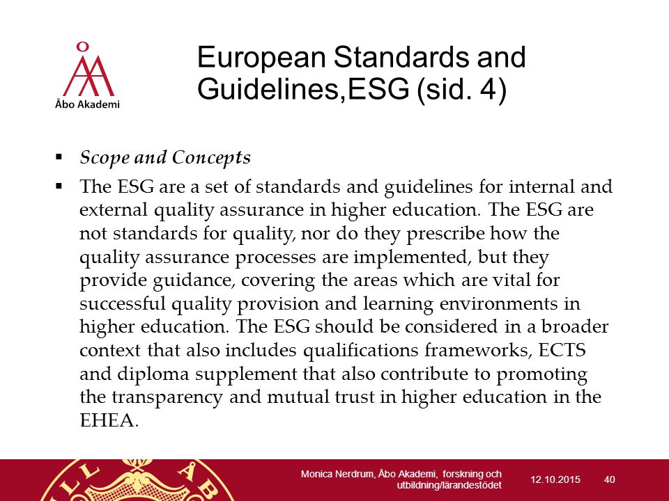European Standards and Guidelines,ESG (sid. 4)
