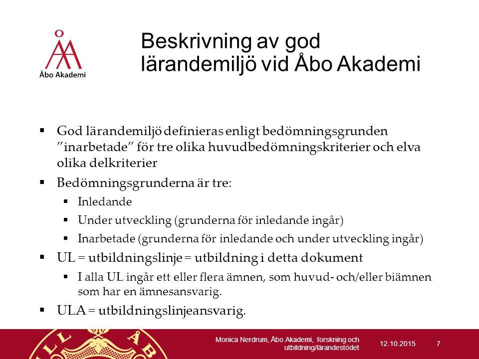 Beskrivning av god lärandemiljö vid Åbo Akademi