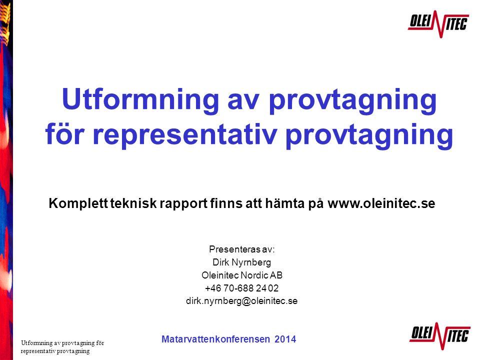 Utformning av provtagning för representativ provtagning