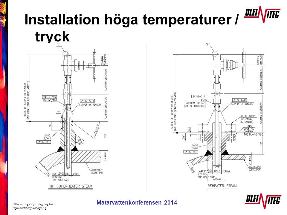 Installation höga temperaturer / tryck