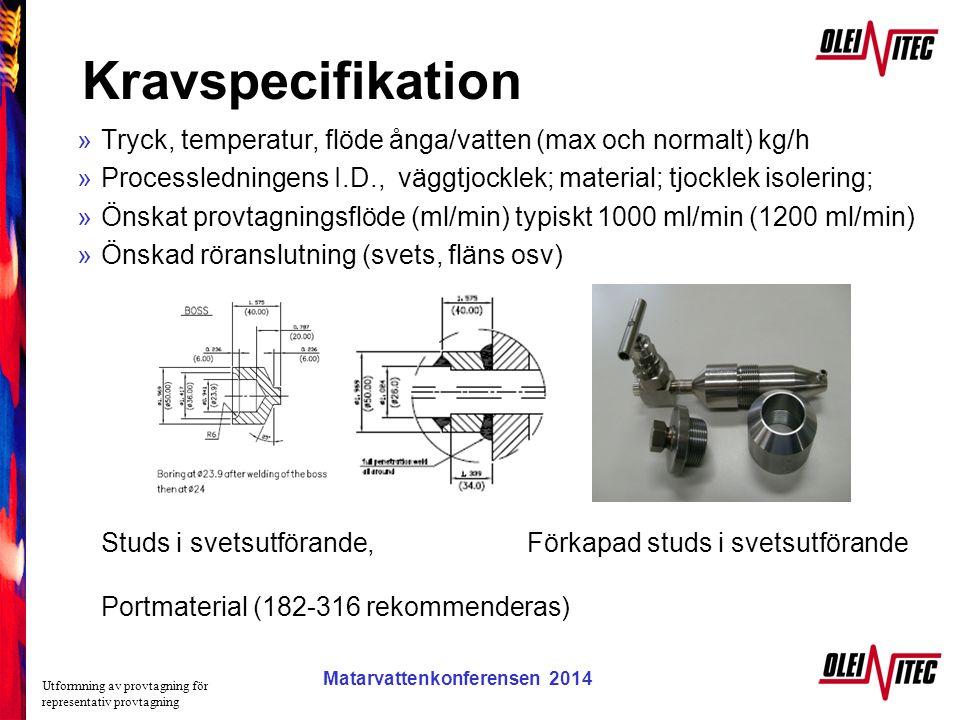 Kravspecifikation Tryck, temperatur, flöde ånga/vatten (max och normalt) kg/h. Processledningens I.D., väggtjocklek; material; tjocklek isolering;