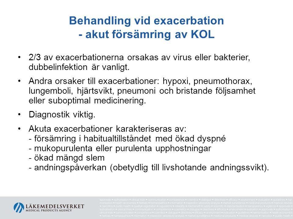 Behandling vid exacerbation - akut försämring av KOL