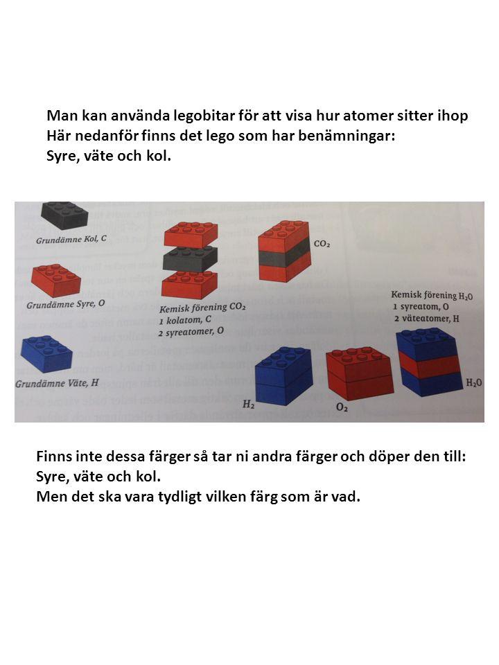 Man kan använda legobitar för att visa hur atomer sitter ihop
