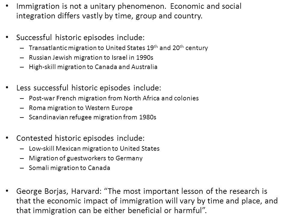 Successful historic episodes include: