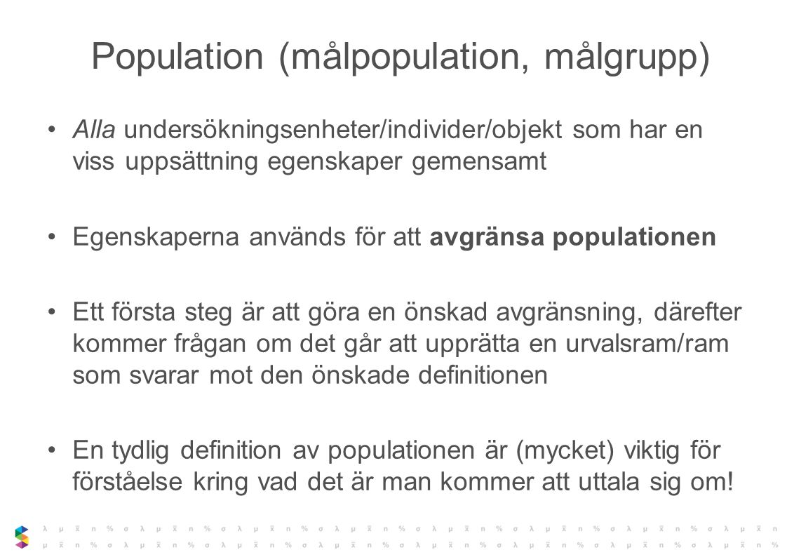 Population (målpopulation, målgrupp)