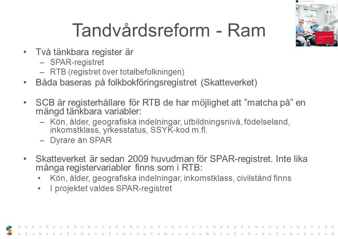 Tandvårdsreform - Ram Två tänkbara register är