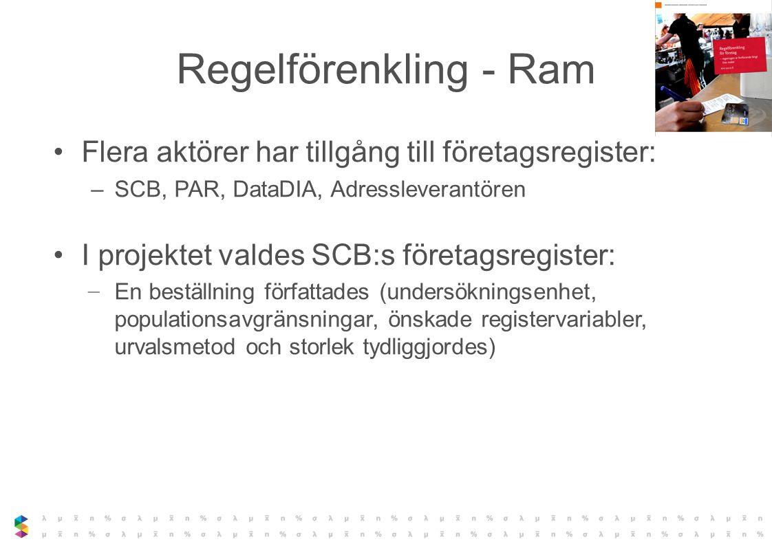 Regelförenkling - Ram Flera aktörer har tillgång till företagsregister: SCB, PAR, DataDIA, Adressleverantören.