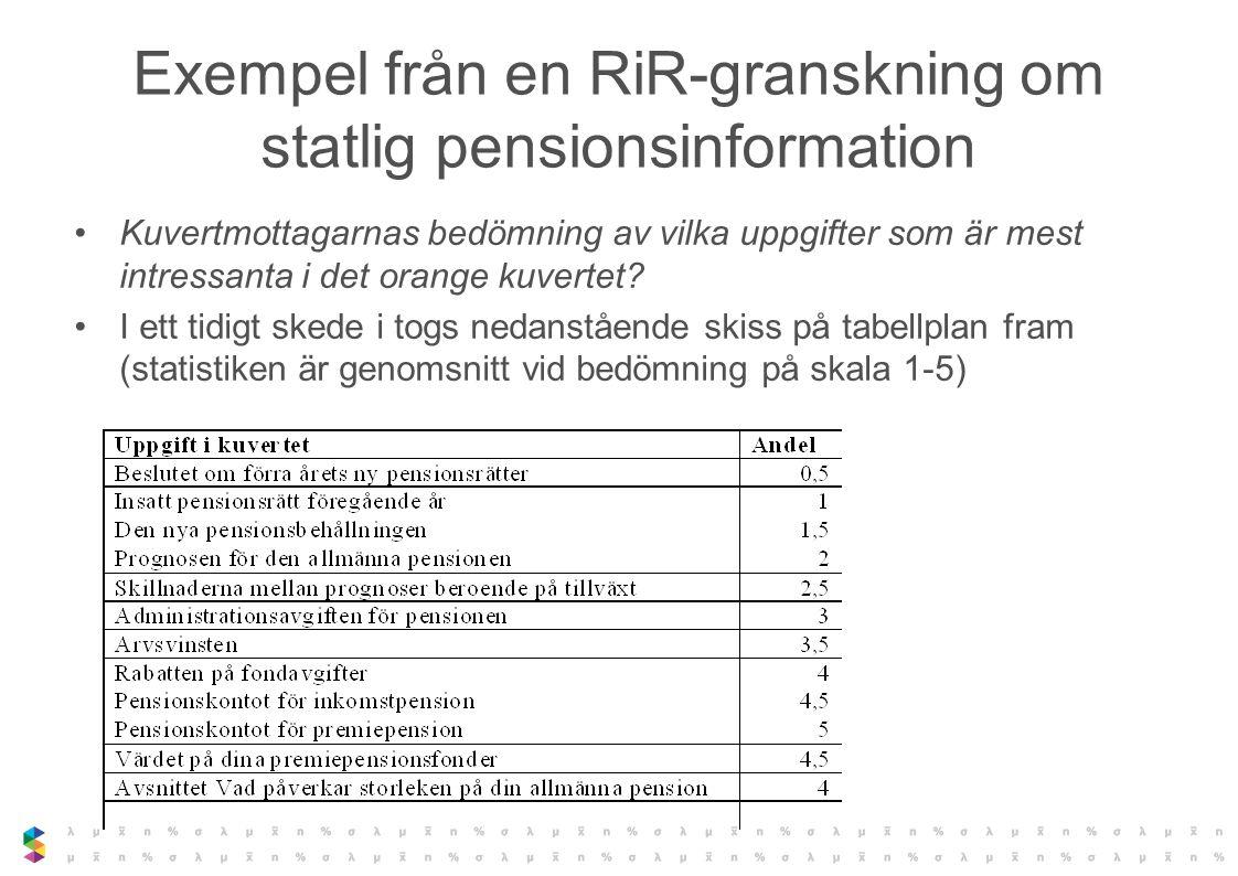 Exempel från en RiR-granskning om statlig pensionsinformation