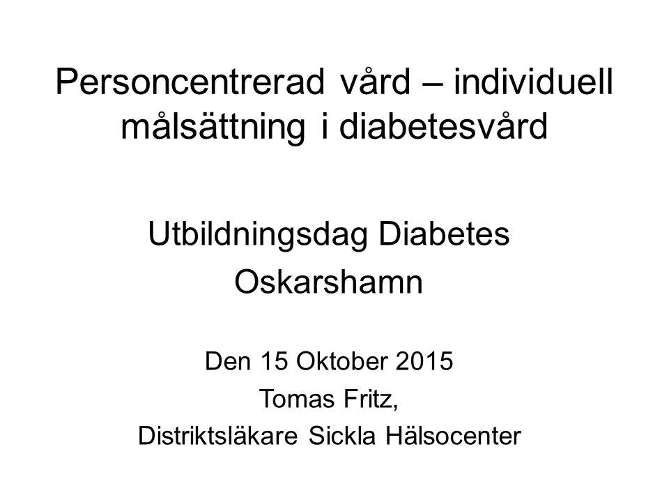 Personcentrerad vård – individuell målsättning i diabetesvård