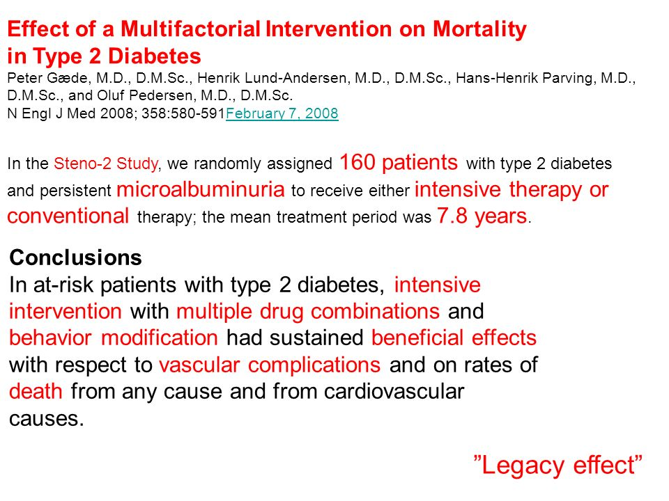Legacy effect Effect of a Multifactorial Intervention on Mortality
