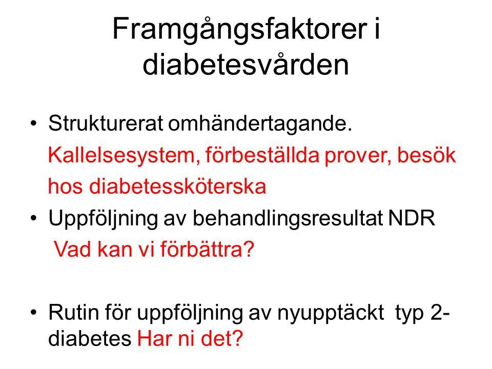 Framgångsfaktorer i diabetesvården