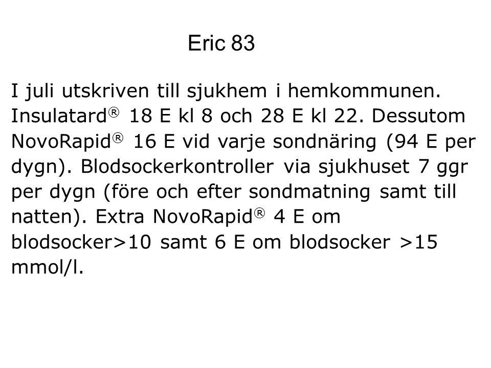 Eric 83 I juli utskriven till sjukhem i hemkommunen.