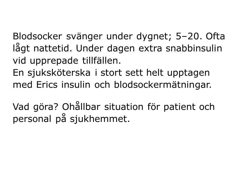 Blodsocker svänger under dygnet; 5–20. Ofta lågt nattetid