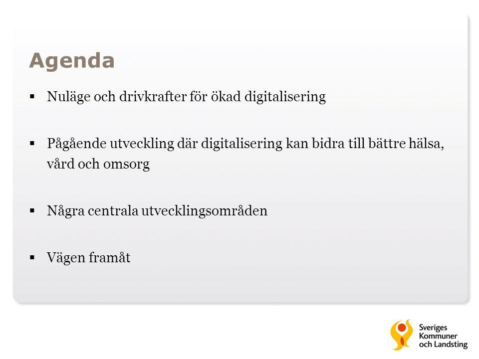 Agenda Nuläge och drivkrafter för ökad digitalisering