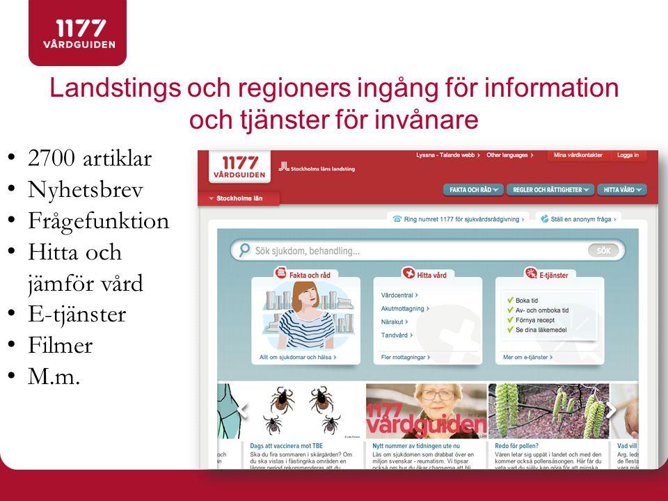 Landstings och regioners ingång för information och tjänster för invånare