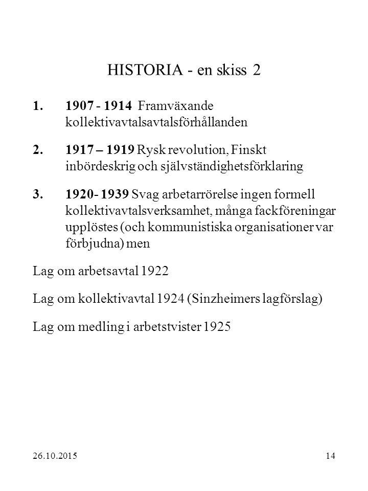 HISTORIA - en skiss 2 1907 - 1914 Framväxande kollektivavtalsavtalsförhållanden.