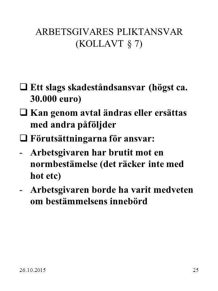 ARBETSGIVARES PLIKTANSVAR (KOLLAVT § 7)