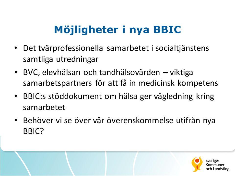 Möjligheter i nya BBIC Det tvärprofessionella samarbetet i socialtjänstens samtliga utredningar.