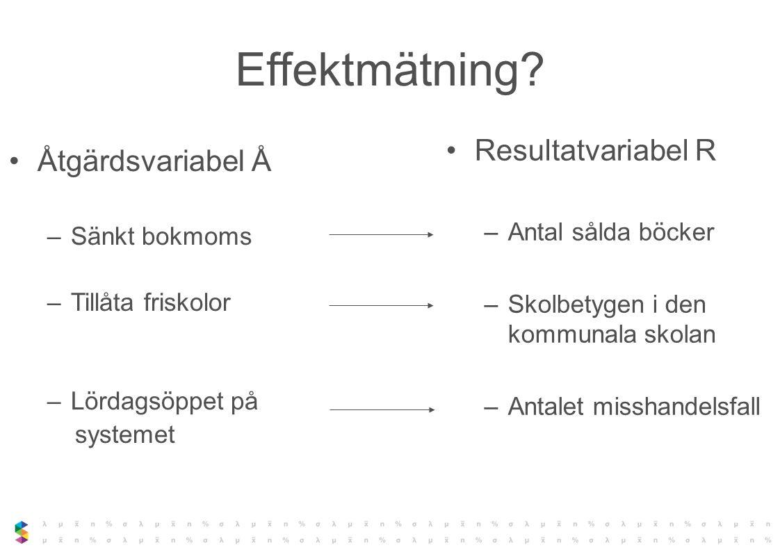 Effektmätning Resultatvariabel R Åtgärdsvariabel Å Antal sålda böcker