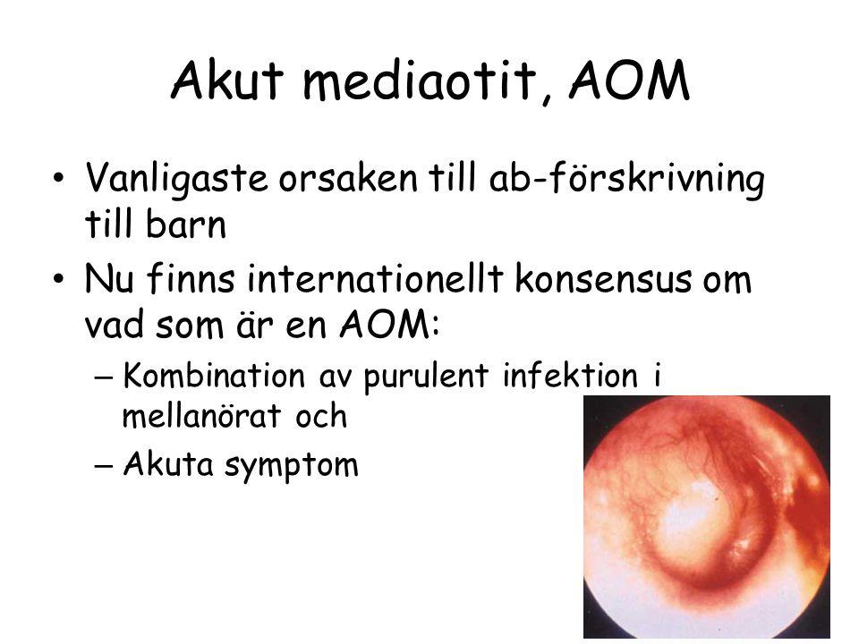 Akut mediaotit, AOM Vanligaste orsaken till ab-förskrivning till barn