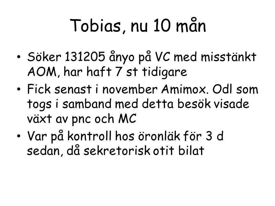 Tobias, nu 10 mån Söker 131205 ånyo på VC med misstänkt AOM, har haft 7 st tidigare.