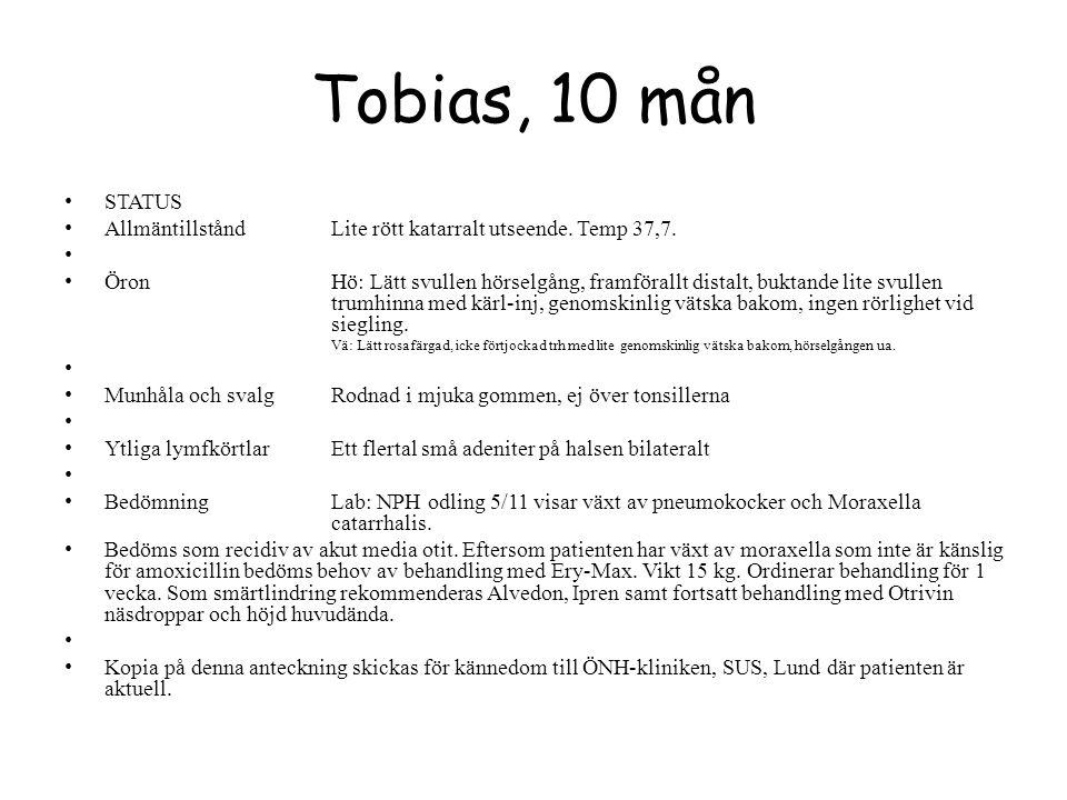 Tobias, 10 mån STATUS. Allmäntillstånd Lite rött katarralt utseende. Temp 37,7.