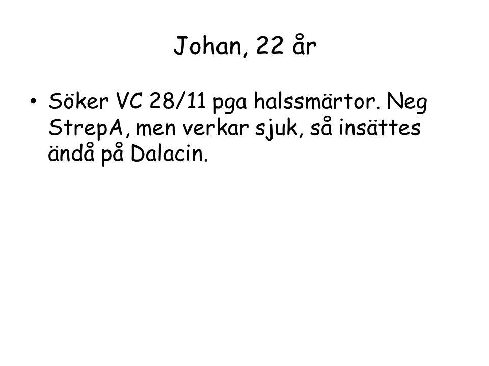 Johan, 22 år Söker VC 28/11 pga halssmärtor.