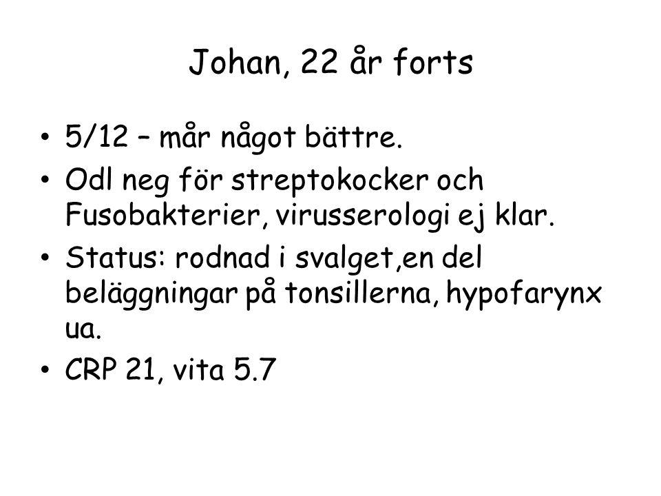 Johan, 22 år forts 5/12 – mår något bättre.