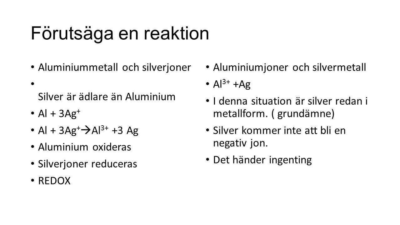 Förutsäga en reaktion Aluminiummetall och silverjoner