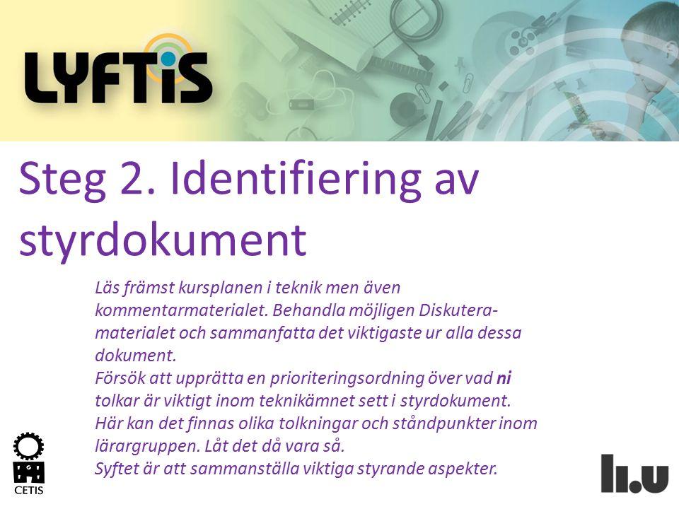 Steg 2. Identifiering av styrdokument