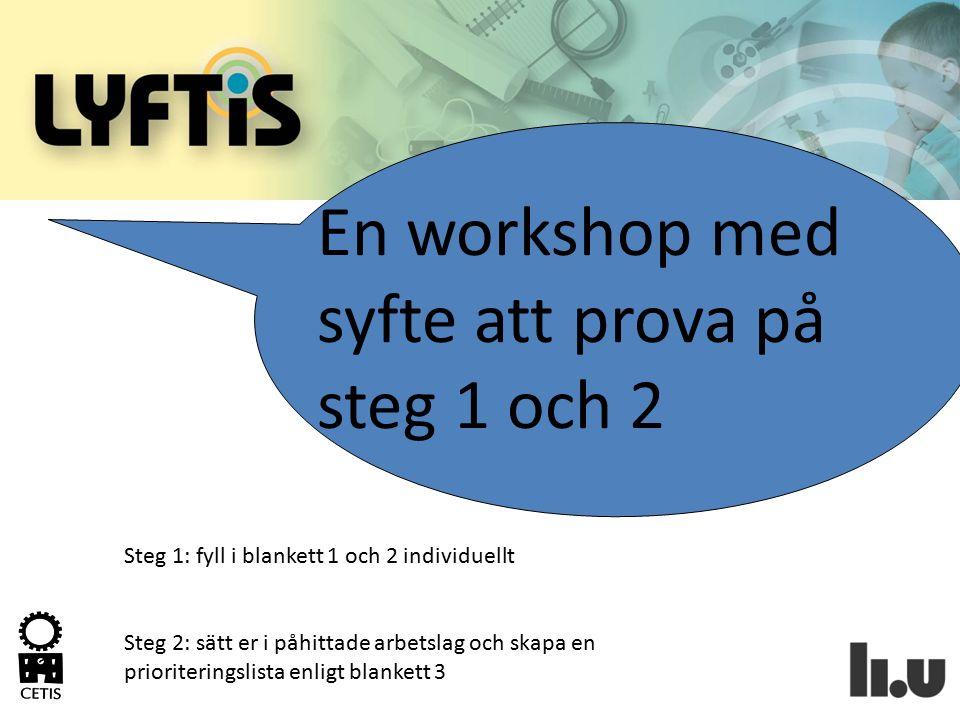 En workshop med syfte att prova på steg 1 och 2