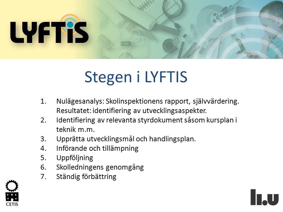 Stegen i LYFTIS Nulägesanalys: Skolinspektionens rapport, självvärdering. Resultatet: identifiering av utvecklingsaspekter.