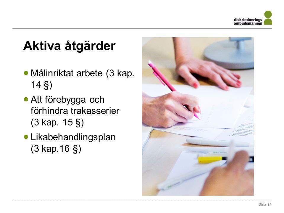 Aktiva åtgärder Målinriktat arbete (3 kap. 14 §)