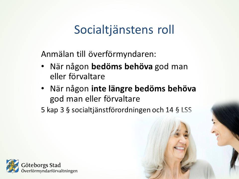 Socialtjänstens roll Anmälan till överförmyndaren:
