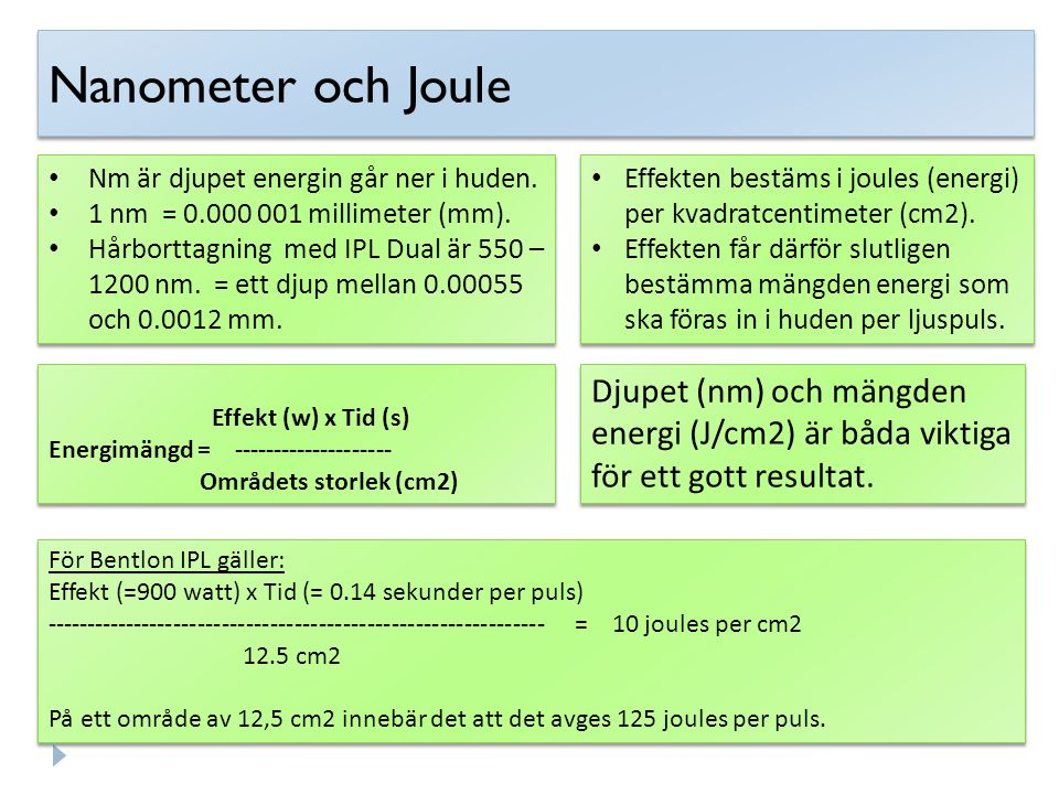 Nanometer och Joule Nm är djupet energin går ner i huden. 1 nm = 0.000 001 millimeter (mm).