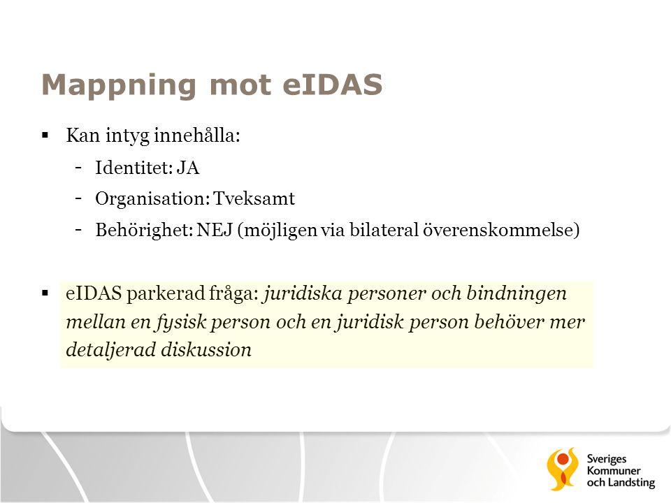 Mappning mot eIDAS Kan intyg innehålla: