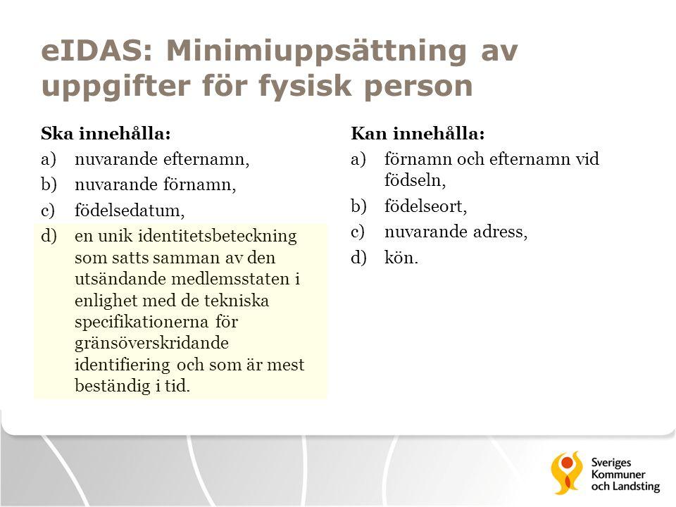 eIDAS: Minimiuppsättning av uppgifter för fysisk person