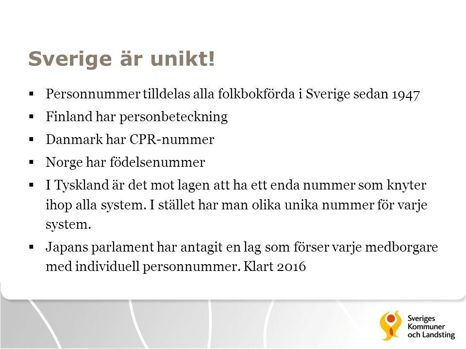 Sverige är unikt! Personnummer tilldelas alla folkbokförda i Sverige sedan 1947. Finland har personbeteckning.