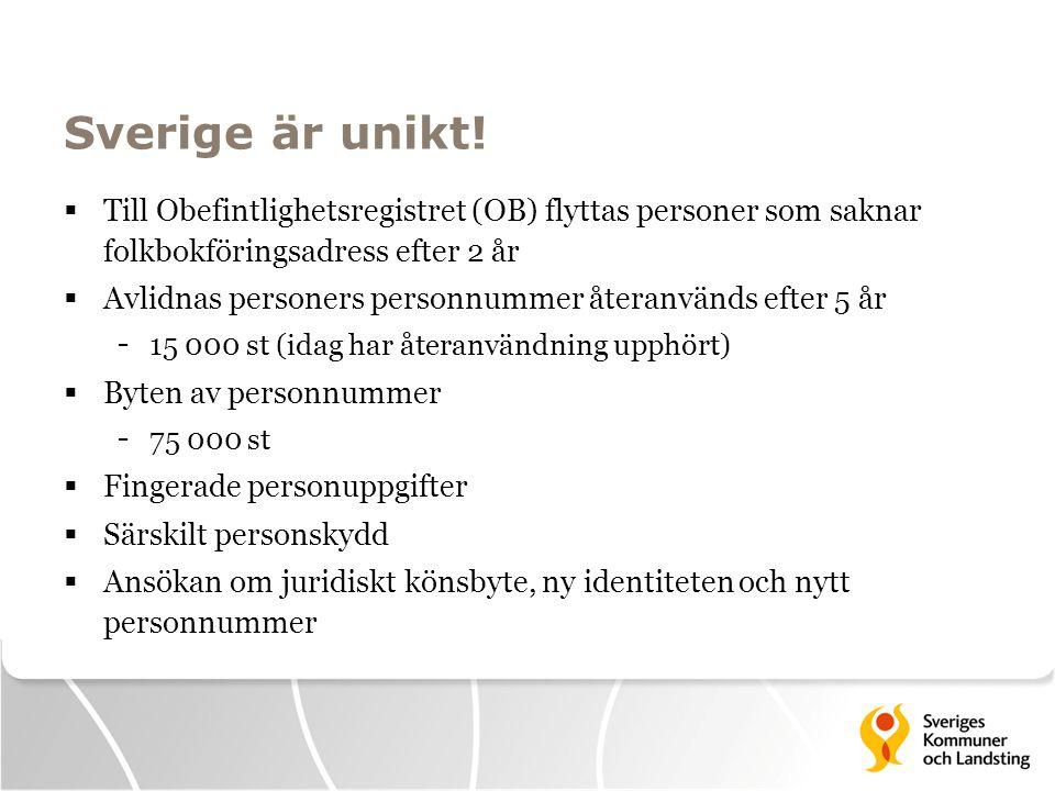 Sverige är unikt! Till Obefintlighetsregistret (OB) flyttas personer som saknar folkbokföringsadress efter 2 år.