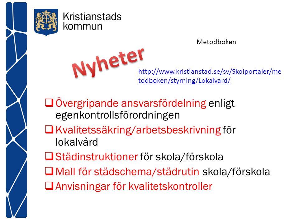 Metodboken Nyheter. http://www.kristianstad.se/sv/Skolportaler/metodboken/styrning/Lokalvard/